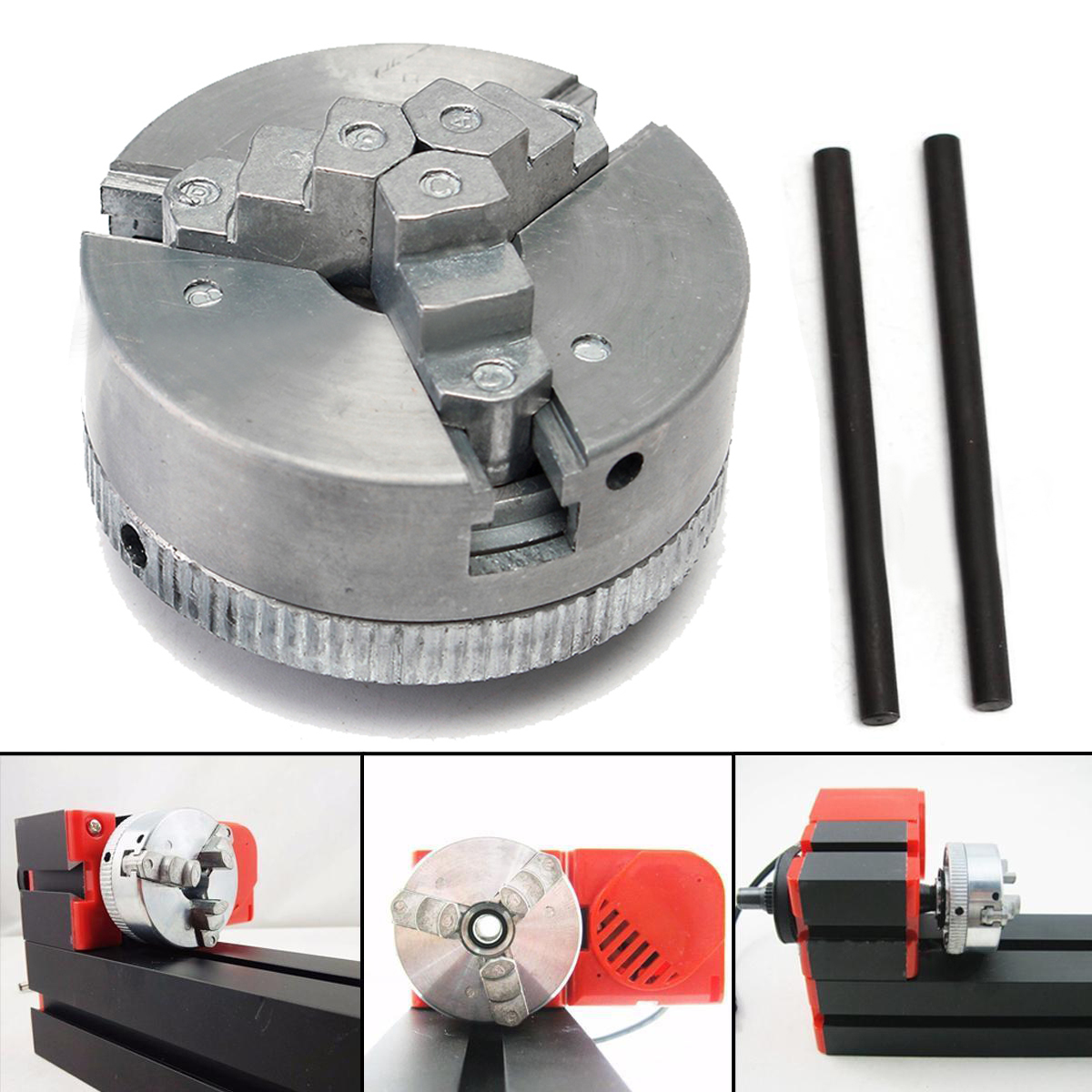 1pc 3 Jaw Lathe Chuck Metal Self Centering Hardened Chuck M12x1 45mm + 2pcs Lock Rods with Shock Resistance 3 3 jaw lathe chuck k11 80 k11 80 80mm manual chuck self centering lathe parts diy metal lathe lathe accessories