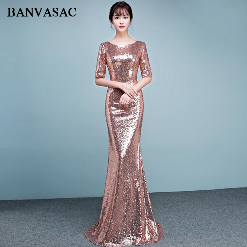 BANVASAC 2018 O Neck Rose Gold Sequined Mermaid Long Evening Dresses Elegant Party Half Sleeve Zipper Back Prom Gowns