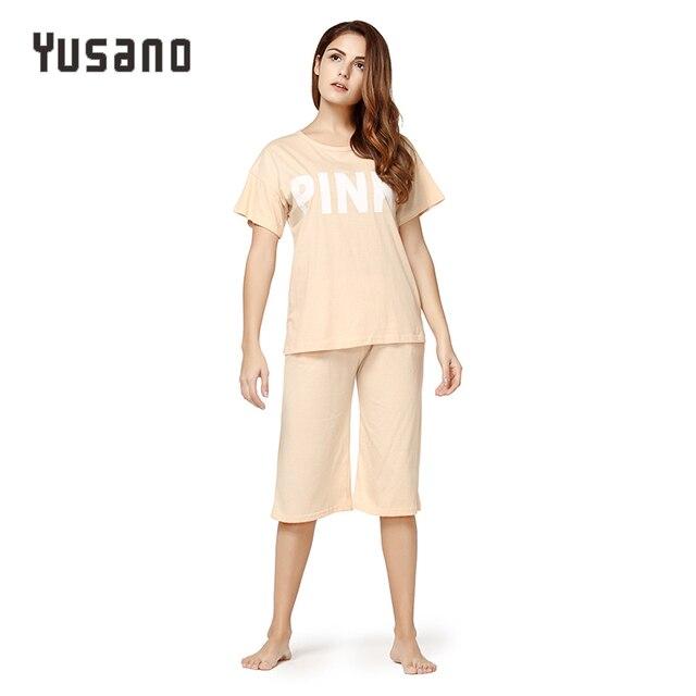 0fdc5e4788bf Yusano Women s Pajama Sets Cotton Shorts Sleepwear Women Clothes Nightwear  Short Sleeve Top Capri with Pockets Pyjamas Plus Size