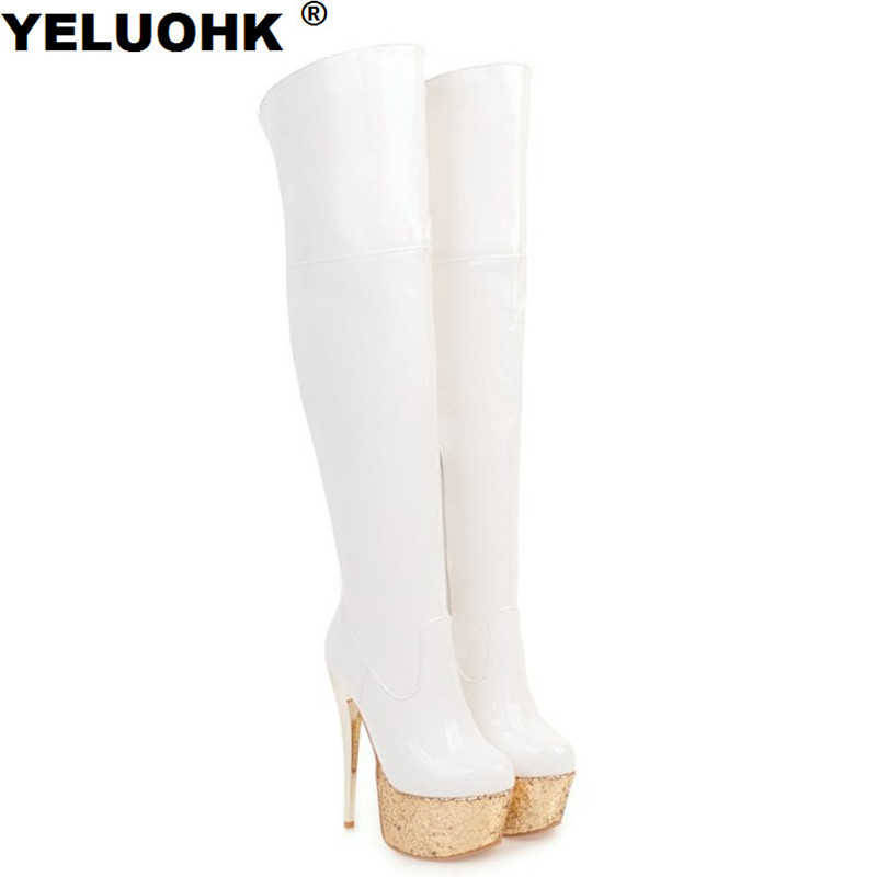 Sexy Women High Boots Patent Leather Shoes Woman Pumps Platform Shoes Over The Knee Boots Extreme High Heels Winter Boots
