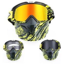 Motocross modułowa maska odpinany gogle usta filtr dla otwarta twarz pół twarzy kask motocyklowy Vintage kaski ATV MTB rowerowe okulary
