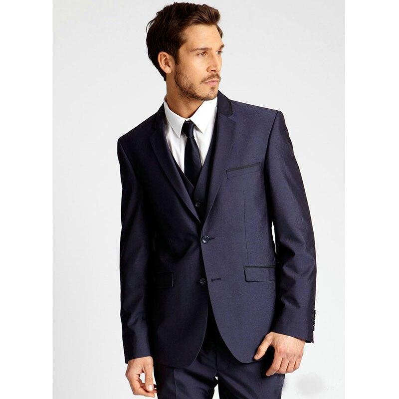 ef2c59486 Hot Sale Handsome men suit Classic dark blue Mens Suits Slim Fit Party  wedding Suits for men ( jacket Pants vest tie)