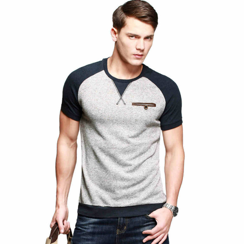 2015 New Mens Fashion Slim Fit T Shirt O Neck Patchwork ...