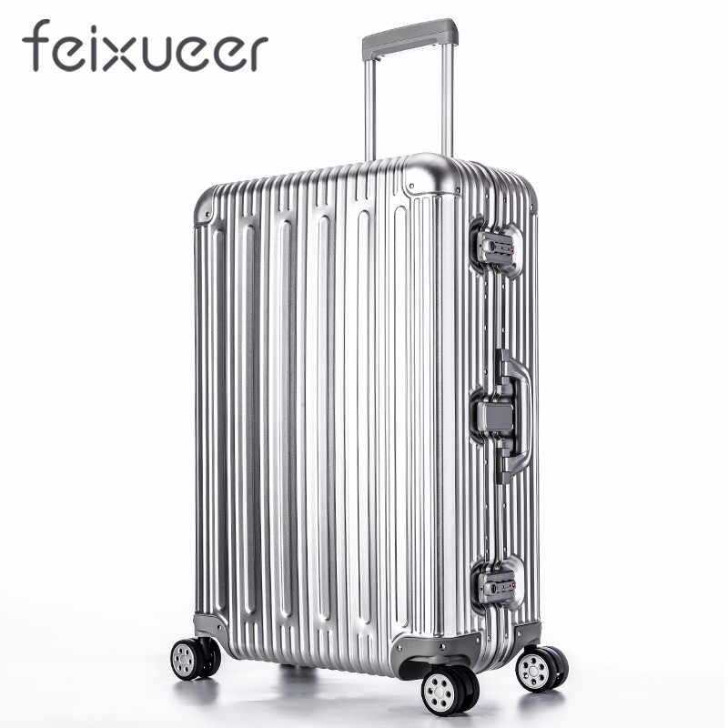 Feixueer Роскошные 100% Алюминий магниевого сплава Rolling Чемодан Для  мужчин Бизнес тележка чемодан металлический Для a2bbfea10db