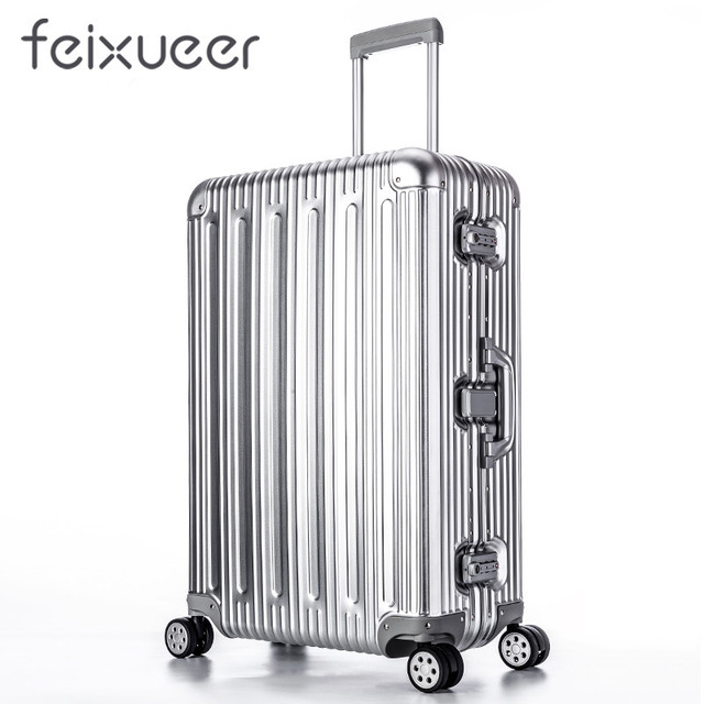 0ee27ac2683 feixueer Luxury 100% Aluminum Magnesium Alloy Rolling Luggage Men Business  Trolley Suitcase Full Metal Women Travel Case Silvery