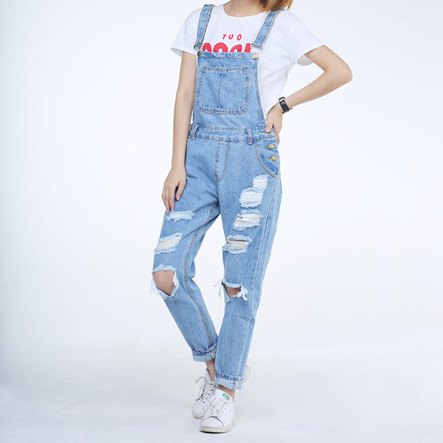 2017 New Long Women Vintage Ripped Holes Black Overalls Las Boyfriend Style White Light Blue Spring