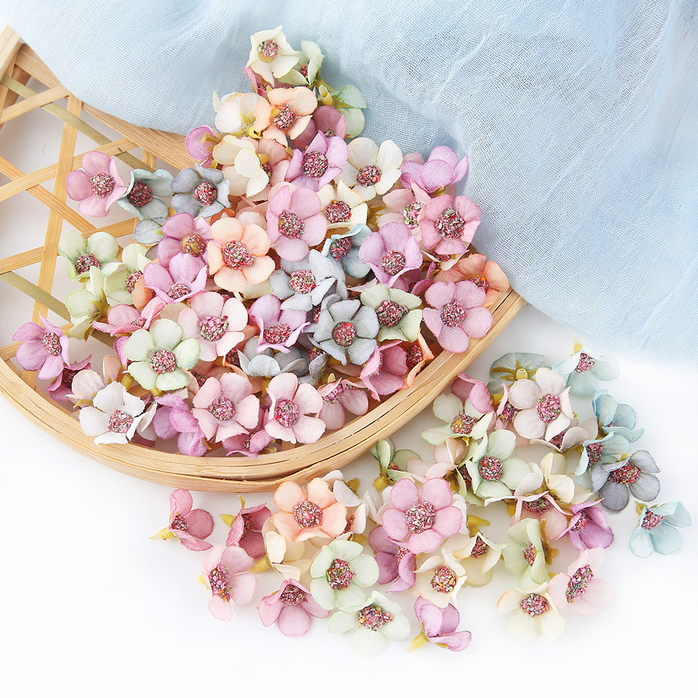 50pcs 2cm Daisy Flower Head Mini Silk Artificial Flowers Decor For Home Wedding Decoration DIY Garland Headdress Fake Flowers(China)