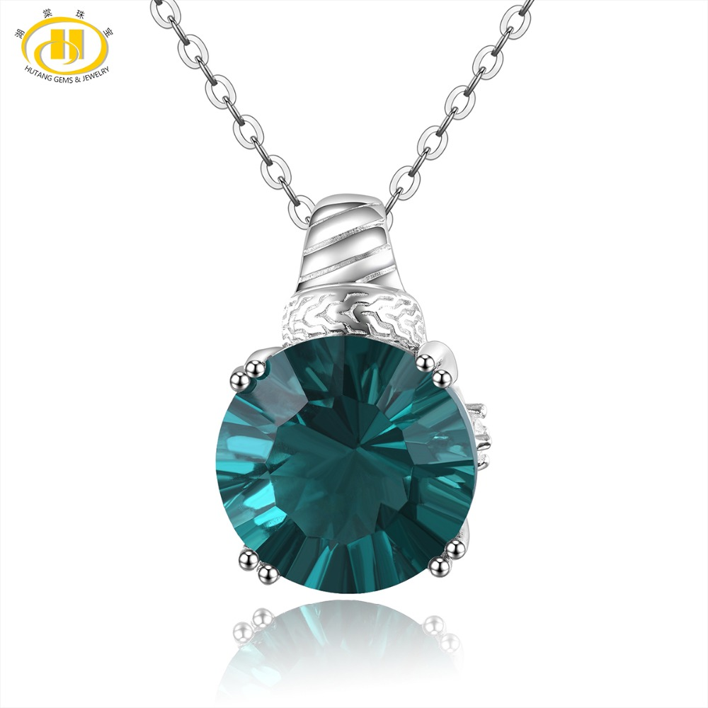 Hutang 12mm Colorful Fluorite Pendant 925 Silver Necklace Natural Gemstone Topaz Fine Jewelry Vintga Design for Women Best GiftHutang 12mm Colorful Fluorite Pendant 925 Silver Necklace Natural Gemstone Topaz Fine Jewelry Vintga Design for Women Best Gift