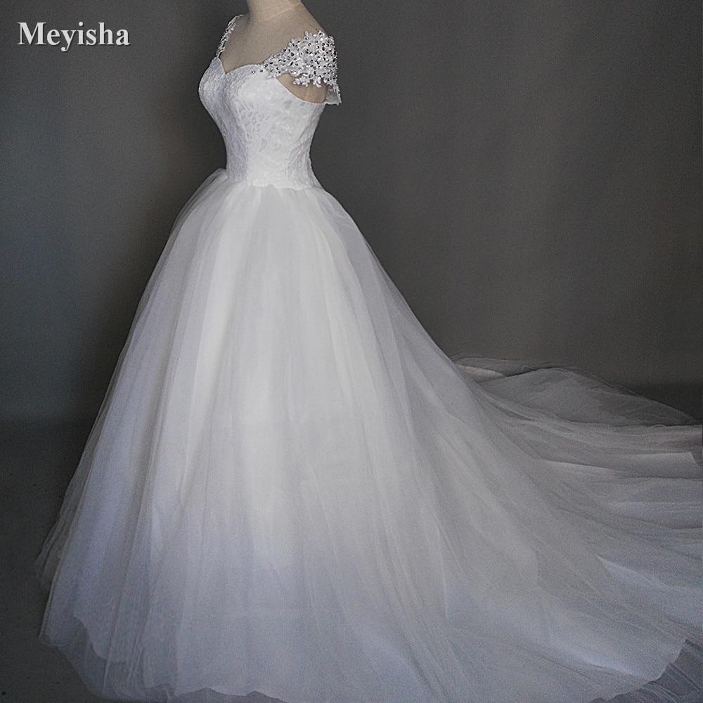 ZJ9029 2018 Baltā ziloņkaula formālā kristāla pērlītes Kāzu kleitas ar vilcienu apģērbu Bridal Dress plus izmērs 2-14 16 18 20 22 24 26