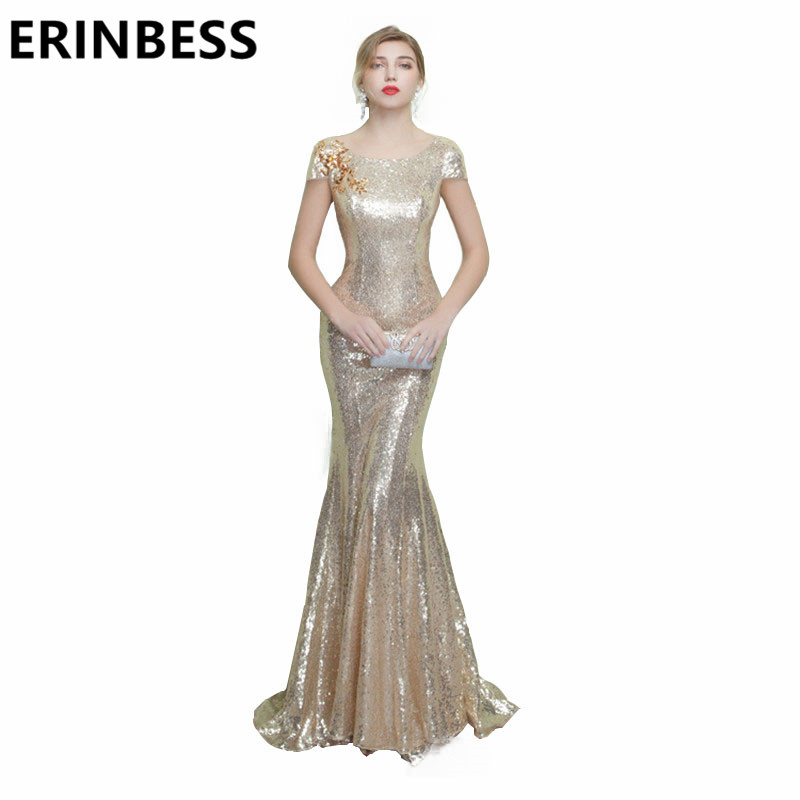 Vestidos De Festa Vestido Longo Para Casamento Long Gold Sequined   Evening     Dresses   Scoop Neck Short Sleeve Mermaid Party Gowns