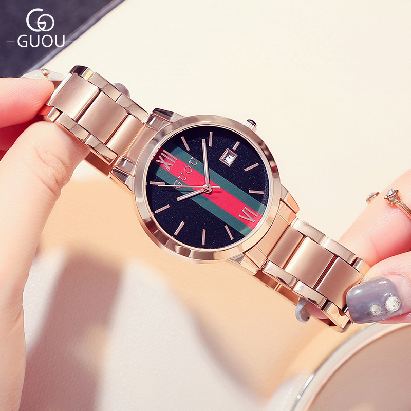 Guou marca superior moda relojes mujeres elegante Rosa oro reloj damas datejust  reloj de pulsera reloj feminino hodinky César SAATRelojes Mujer montre  Femme ... 84ad8c89a63a