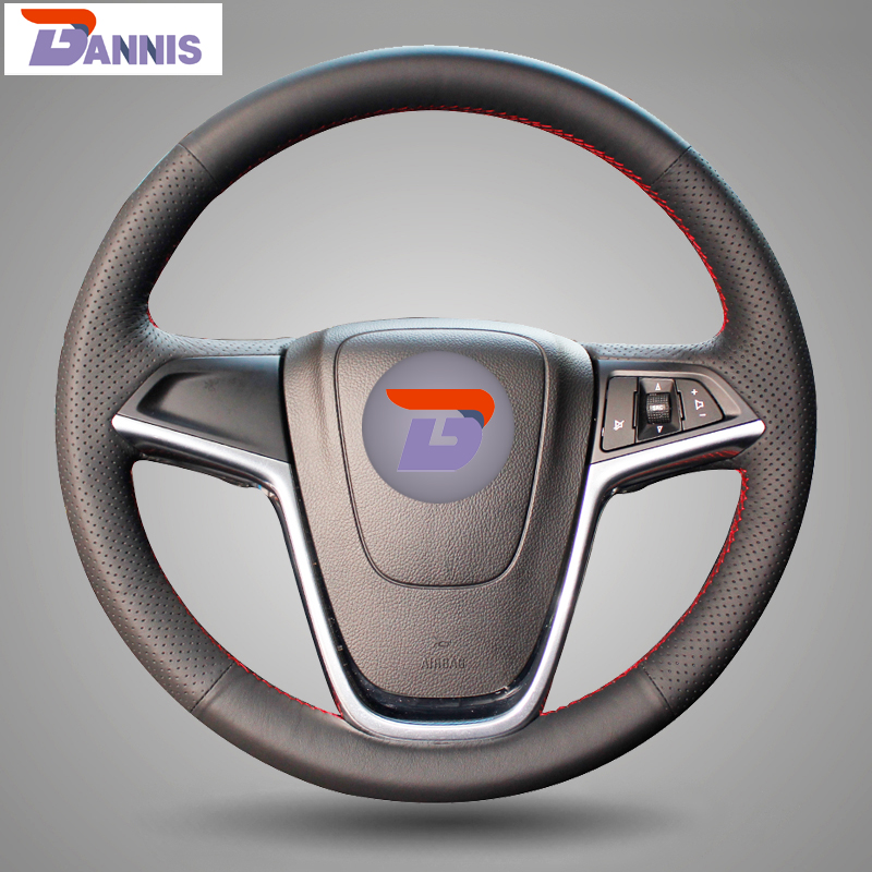 BANNIS Black Artificial Leather DIY Hand stitched Steering Wheel Cover for Buick Excelle XT GT Encore
