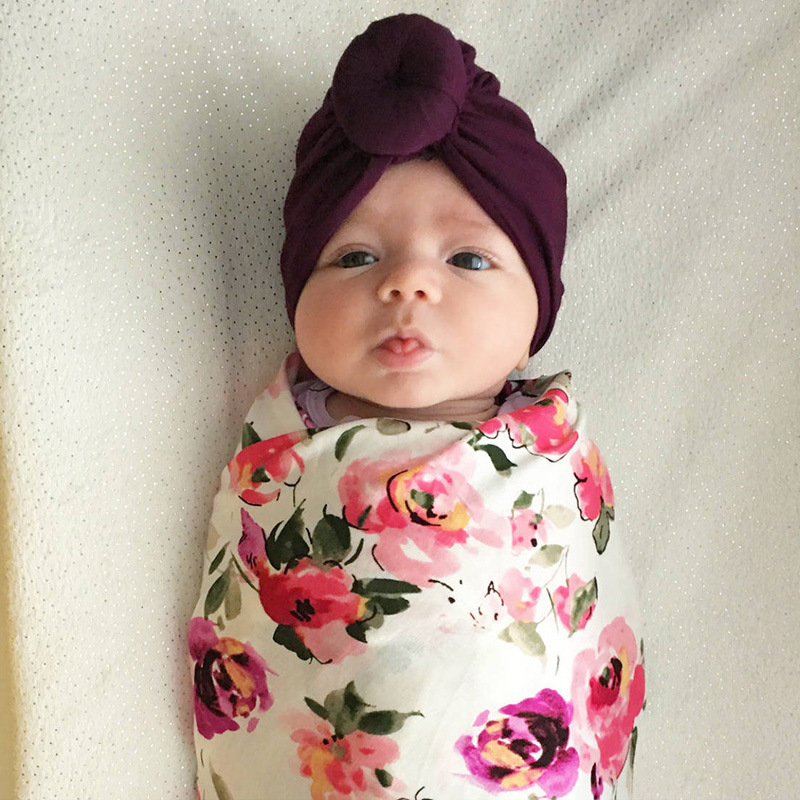 yooap New baby products childrens headscarf cap babys pure color knotted Indian headgear