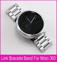 Top Qualité 22mm Noir Argent Bracelet En Acier Inoxydable Pour Moto 360 bande Pour Motorola Moto 360 Smart Watch + Outils + Connexion tige
