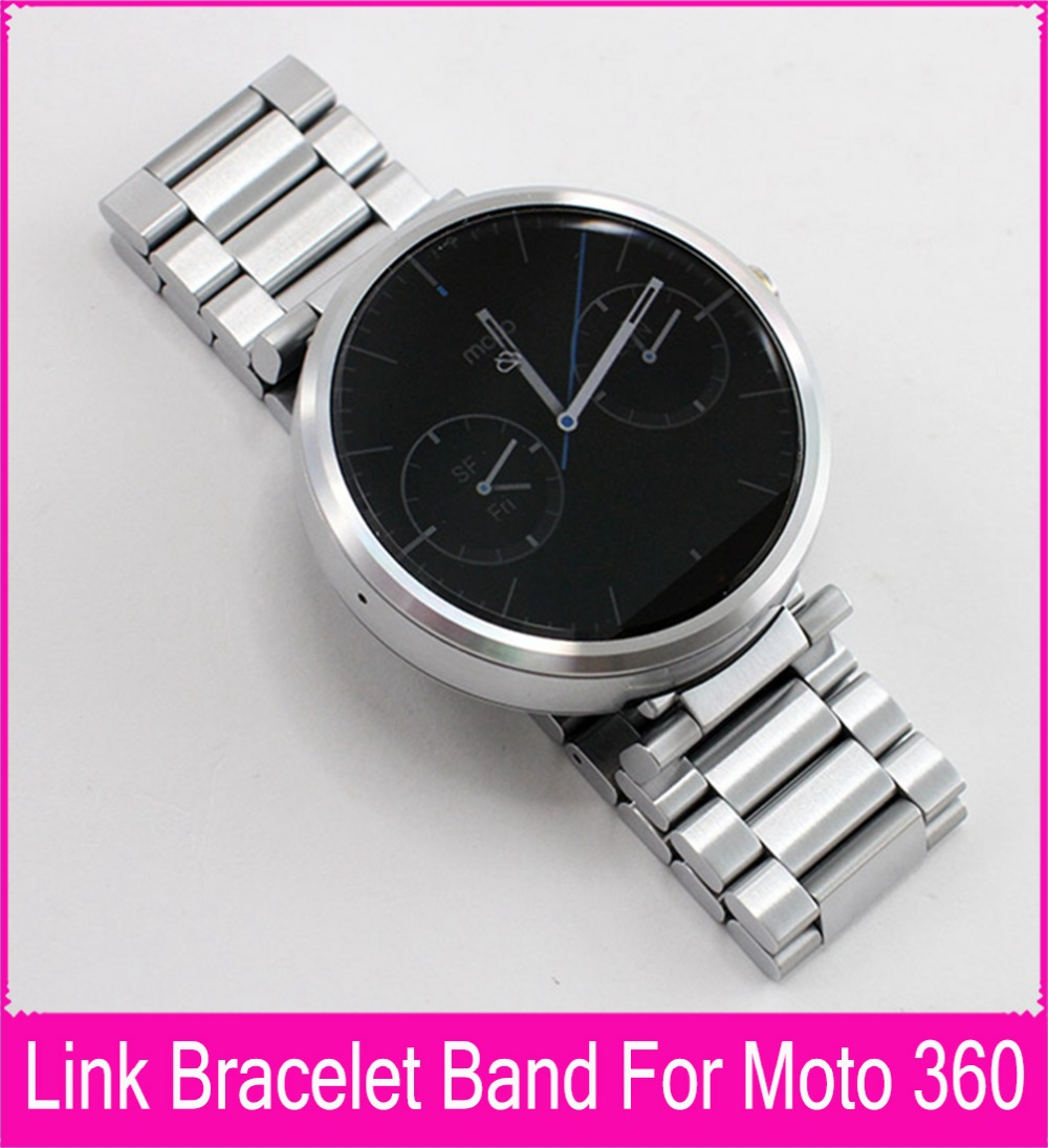 Top Quality 22mm Black Silver Stainless Steel Strap For Moto 360 Band For Motorola Moto 360 Smart Watch + Tools + Connecting Rod stainless steel watch band strap for moto motorola 360 smart watch black silver watchband women men lady male