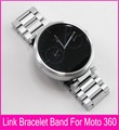 Top Quality 22mm Black Silver Stainless Steel Strap For Moto 360 Band For Motorola Moto 360 Smart Watch + Tools + Connecting Rod