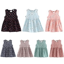 Girl's Summer Floral Printed Sleeveless Dresses