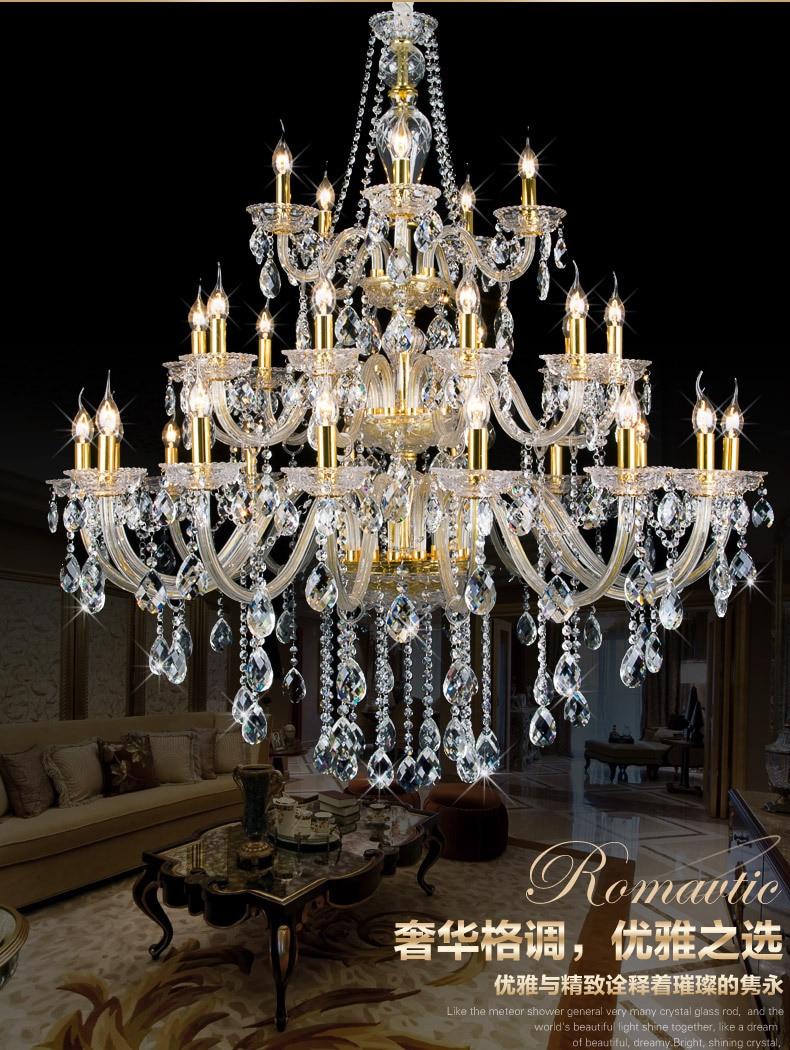 Lights Large Gold Crystal Chandelier