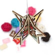 2Pcs/Set Hot DIY 3D Xmas Tree/Wall Clock/Star Pendants Hanging Wooden Christmas Decorations