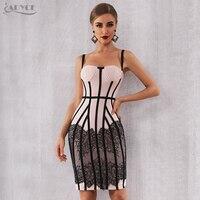 Adyce Sexy Summer Bandage Dress Women Vestido 2019 New Bodycon Lace Spaghetti Strap Club Dress Midi Celebrity Runway Party Dress