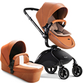2016 Pouch Baby stroller 2 in 1 orange white leather red coffee color baby car luxury baby car