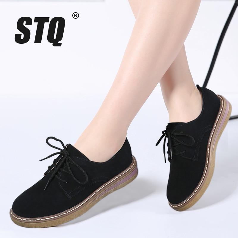 STQ/2018 г. Весна Женские кроссовки туфли-оксфорды обувь на плоской подошве женские замшевые на шнуровке водонепроницаемые Мокасины обувь на плоской подошве с округлым мысом Мокасины 989