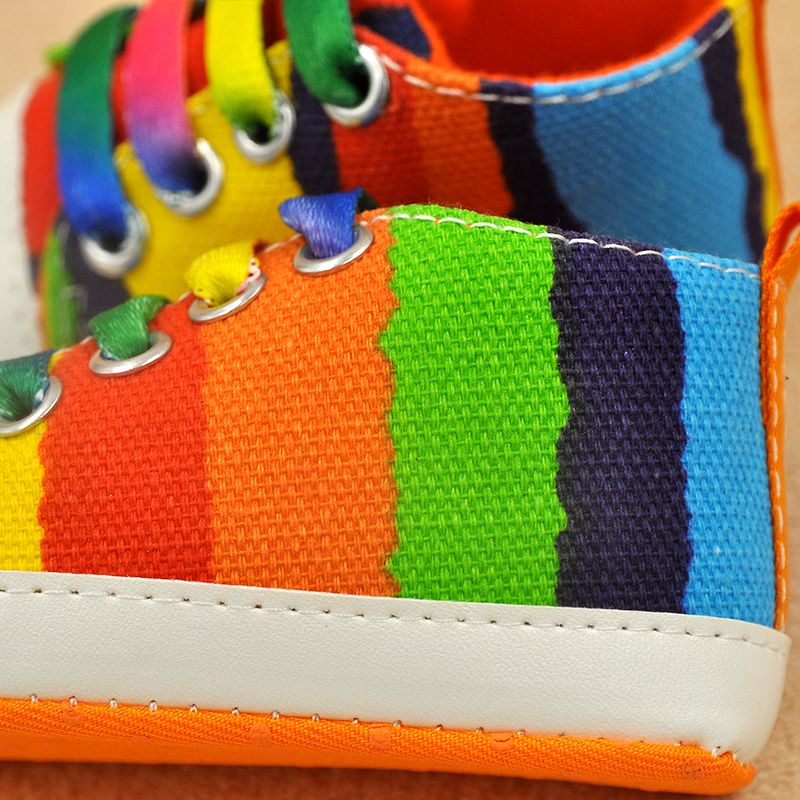 New-Baby-Boy-Girl-Soft-Sole-Shoes-Cotton-Carvan-Sneakers-Laces-Crib-Shoes-0-18M-Rainbow-Color-4