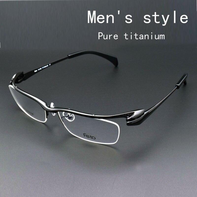 Cadre de verre Mâle lunettes de myopie Moitié Boîte Mâle Pur cadres en titane Sourcils Cadres Lunettes Myopie Film Mâle Moitié une Boîte