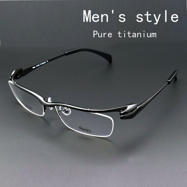 Glass Frame Male Myopia Glasses Male Half Box Pure Titanium Frames