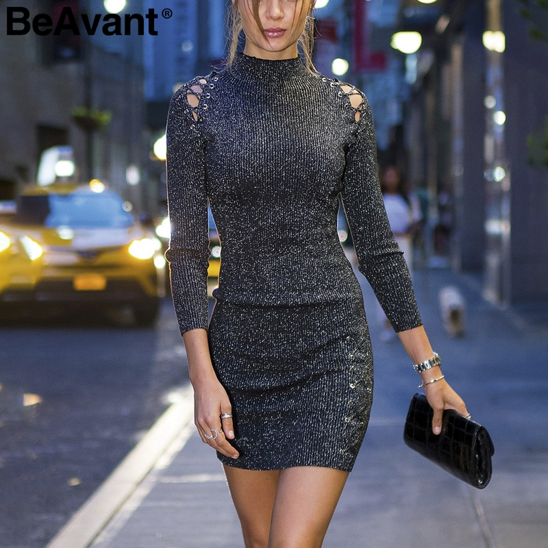 BeAvant Glitter knitted short party dress women Turtleneck sexy mini bodycon dress Vintage lace up winter dress female vestidos