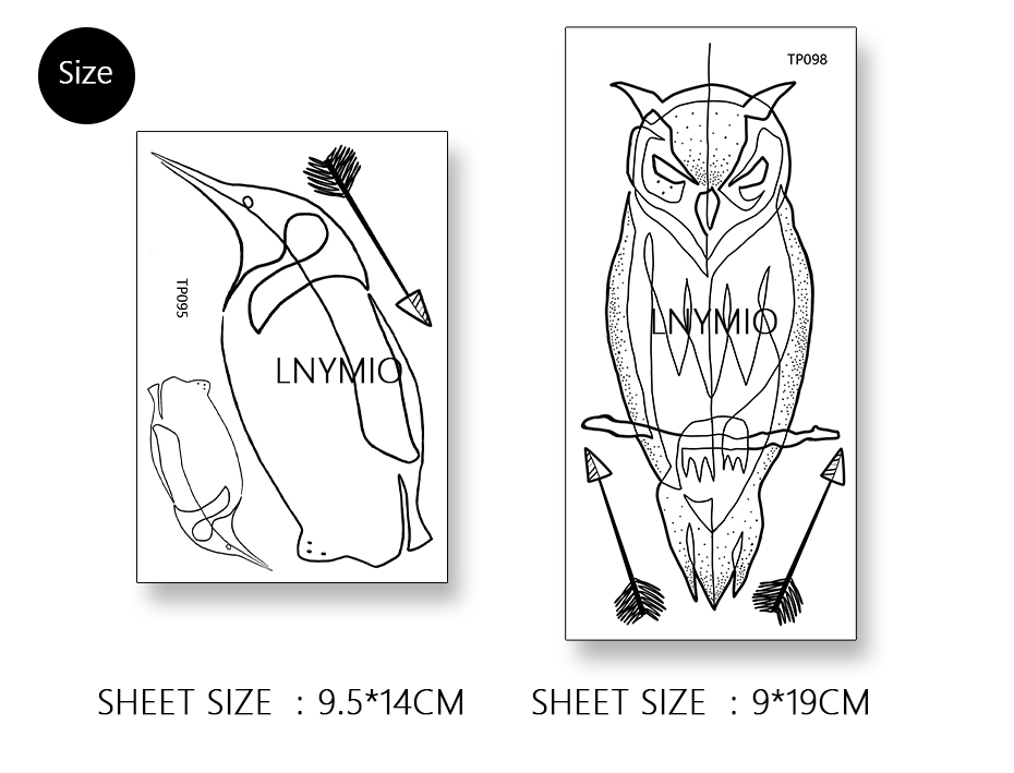17 NEW tattoo owl and penguin temporary tattoo sticker black line style Man cool tattoo animal 3