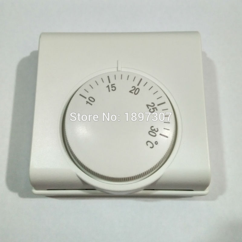 220 VAC mechanikus hőmérséklet-szabályozó helyiségfűtő termosztát gázkazánhoz (10-30 fok)
