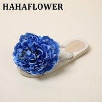 HAHAFLOWER New Summer BLUE Flower 16cm Women Flat Designer Shoes Massage  Beach Slippers Girl Flip-flops A33