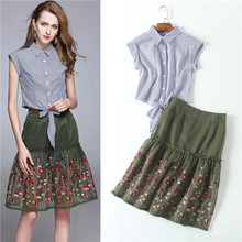 high quality women clothing sets 2 pieces crop tops and skirt white blue stripe blouses + green embroidered mesh skirt suit sets