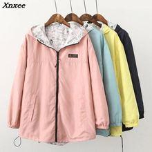 Xnxee Spring Autumn 2018 Fashion Women Jacket Coat Pocket Zipper Hooded Two Side Wear Cartoon Print Outwear Loose Plus Size