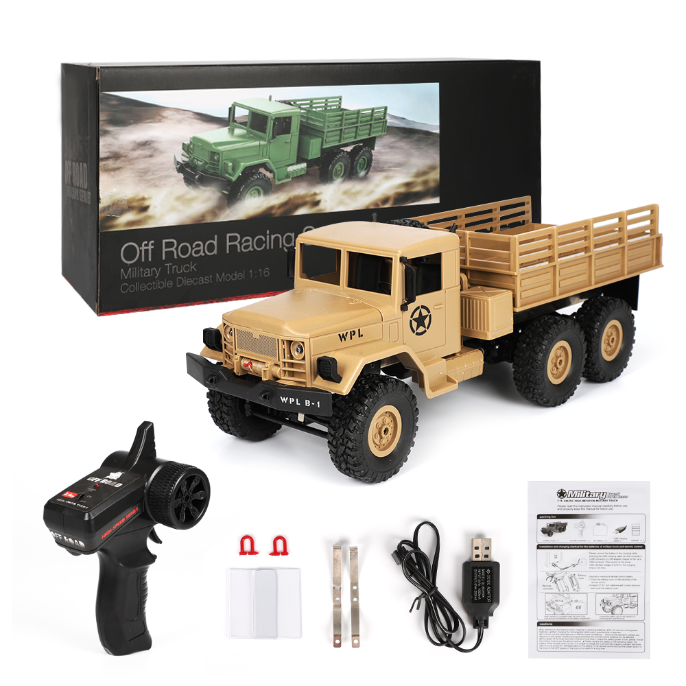 In Stock WPL B-16 1/16 2.4G 6WD Crawler Off Road RC Car With Light RTR Ready-to-go With Transmitter DIY RC Models Kids Toys Gift new arrival wpl wplb 1 1 16 2 4g 4wd rc crawler off road car with light rtr toy gift for boy children