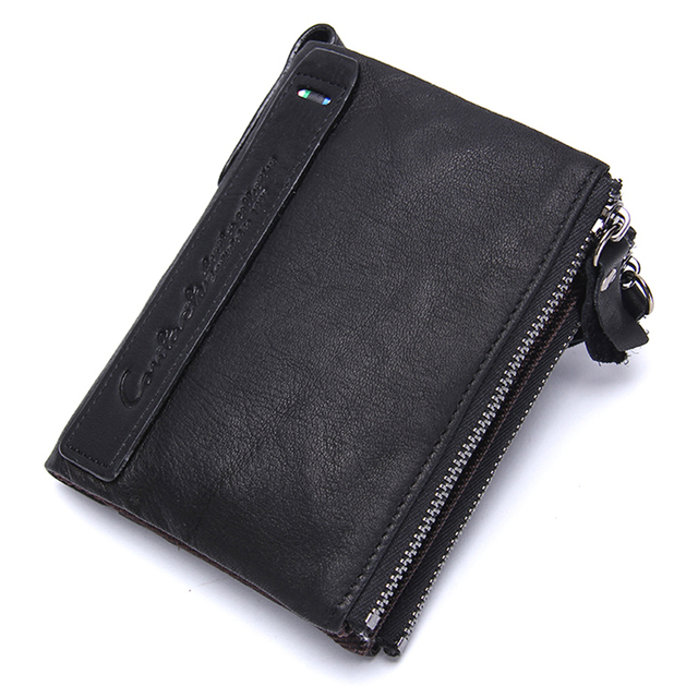 CONTACT'S Genuine Leather Men Wallet Coin Purse Card Holder Zipper Small Clutch male Bags travel Walet Money Bag Organizer purse
