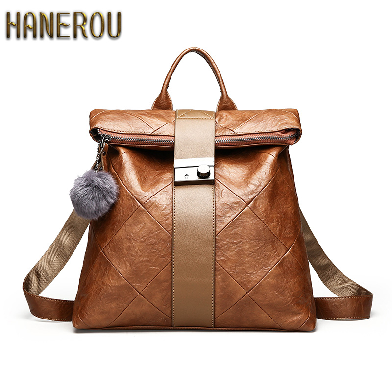 Anti Theft Backpack Women Backpacks Solid Fashion School Bags For Girls PU Leather Backpack Mochilas Mujer 2018 New Sac A Dos dida bear brand women pu leather backpacks female school bags for girls teenagers small backpack rucksack mochilas sac a dos