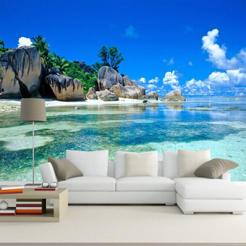 Custom 3D Mural Wallpaper Non-woven Bedroom Livig Room TV Sofa Backdrop Wall paper Ocean Sea Beach 3D Photo Wallpaper пляж на самуи