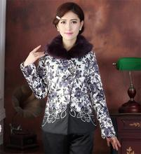 Free Shipping Chinese Women's Cotton Embroider Flower With Fur Rabbit Wadded Jacket Coat M L XL XXL 3XL 4XL TD018