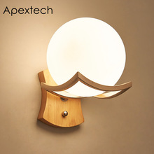 Apextech Wood Wall Lamp Milky Glass Sphere Bedside Mounted Night Lights Modern Contracted Style Indoor Decoration