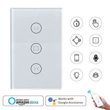 Wifi smart touch curtain switch EU/US switch panel voice/APP remote control electric curtain work with alexa Echo google home