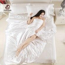 ParkShin Satén de Seda del Lecho Duvet Cover Set de ropa de Cama de Color Sólido Blanco Suave Tencel Hoja Plana 3 Unids o 4 Unids