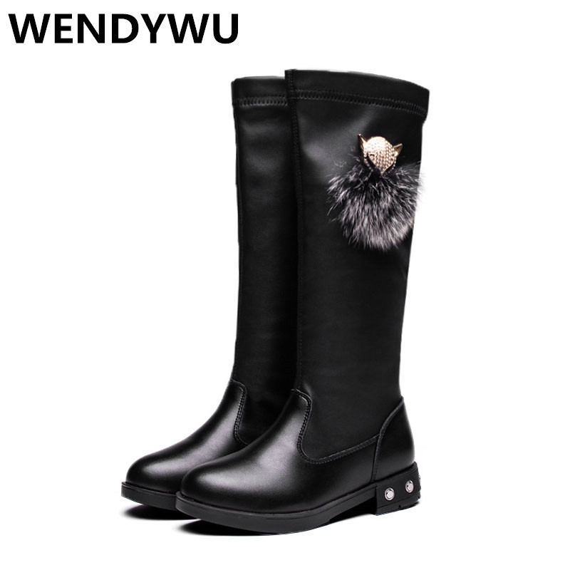 WENDYWU autumn winter black boots for baby girls pu leather shoes children fashion boots toddler brand knee high boots