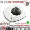 Inglês Versão Mini Dome Rede IP Sem Fio Da Câmera 4MP DS-2CD2542FWD-IWS Full HD Embutido Mic Entrada De Áudio Suporte WDR