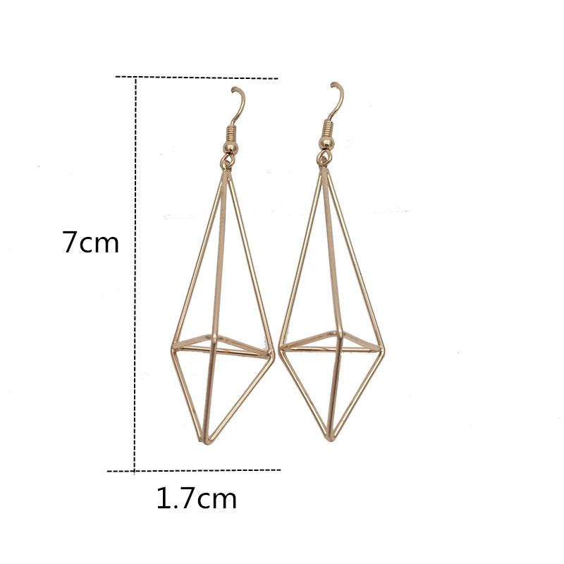 fashion simple geometry stereo earrings the pyramid stud hollow out