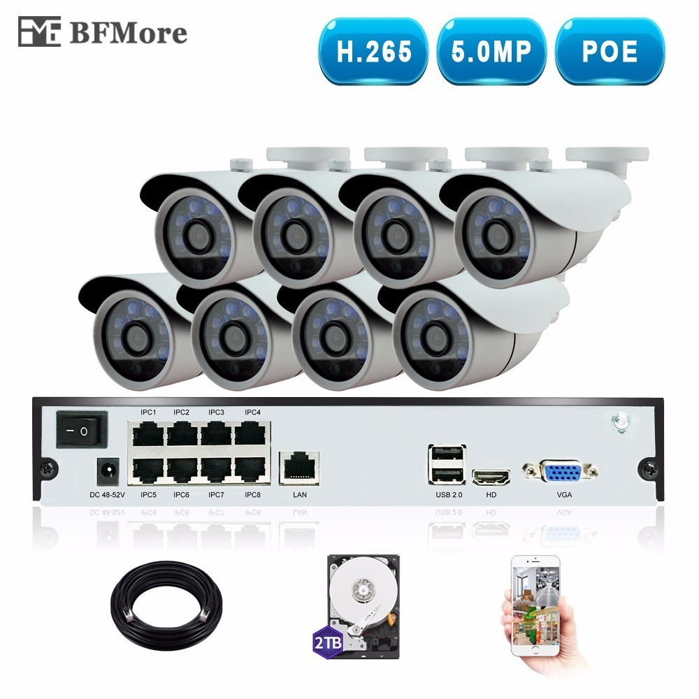 BFMore H.265 5.0MP POE 8CH NVR Kit CCTV System IP Camera P2P IR IP66 Outdoor Weatherproof Video Security Surveillance Set P2P
