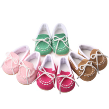 18 inch Girls doll shoes Lovely baby canvas American new born accessories Baby toys fit 43 cm s220