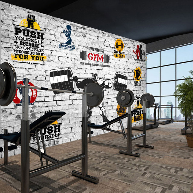 gym wall decal murals modern living room bedroom wall papers 3d