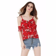 2019 Spaghetti Summer Women Chiffon Camis Top Sexy Ladies Red Floral Print Ruffle Off Shoulder Vest  Top sexy off shoulder random floral print top